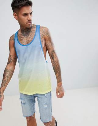 Asos DESIGN extreme racer back tank with ombre dip dye in blue