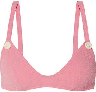 Lisa Marie Fernandez Magdalena Seersucker Bikini Top - Baby pink