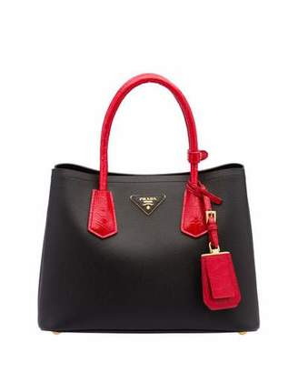 Prada Saffiano Cuir/Crocodile Double Tote Bag, Black/Red (Nero+Rosso) $4,240 thestylecure.com
