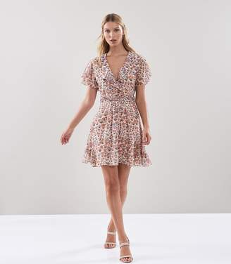 Reiss AIME FLORAL PRINTED TEA DRESS Pink
