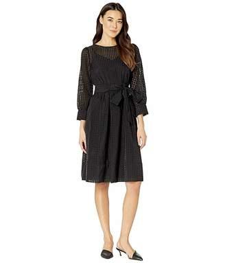 Calvin Klein Organza Burnout Dress with Self Tie Belt