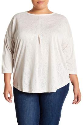 Bobeau Pleat 3/4 Sleeve Tee (Plus Size)