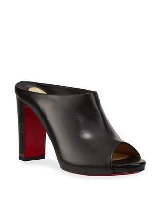 Christian Louboutin Corinthe Peep-Toe Leather Red Sole Mules