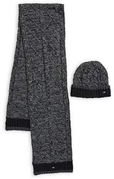 Tommy Hilfiger Colourblock Two-Piece Scarf Beanie Set