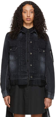 Sacai Black Denim Nylon Back Jacket