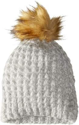 La Fiorentina Women's Chunky Knit Hat with Faux Fur Pom