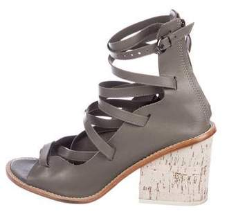 Tibi Leather Caged Sandals