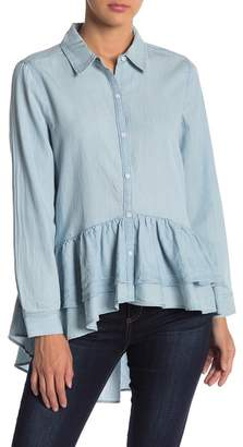 Melrose and Market Chambray Hi-Lo Ruffle Hem Tunic