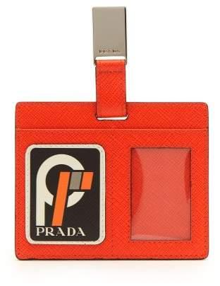Prada - Security Clip On Leather Card Holder - Womens - Orange Multi