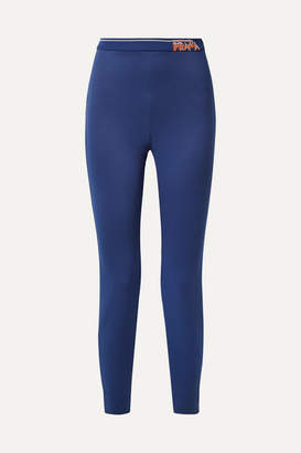 Prada Intarsia-trimmed Tech-jersey Leggings - Royal blue