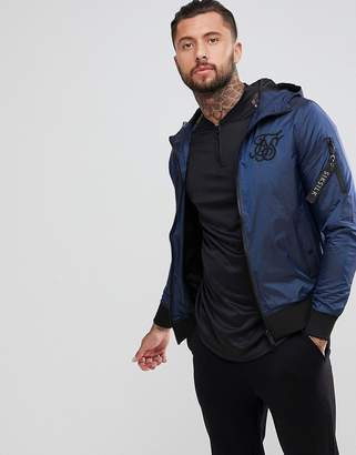 SikSilk Windbreaker Jacket In Iridescent Navy