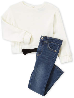 7 For All Mankind Toddler Girls) Two-Piece Velvet Bow Tie Accent Sweatshirt and Jeans Set