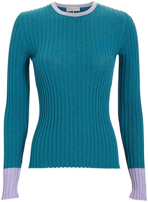 Emilio Pucci Lurex Cuff Blue Knit Top