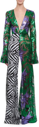 Halpern Deep-V Bell-Sleeve Abstract Floral & Zebra Sequin Flared-Leg Jumpsuit