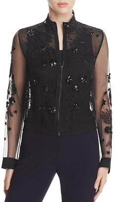 Elie Tahari Suri Silk Bomber Jacket $398 thestylecure.com