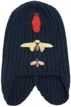 Gucci Insect-embroidered wool beanie hat