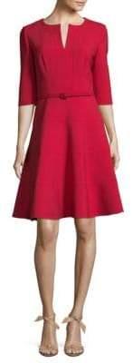 Oscar de la Renta Three-Quarter Sleeve A-Line Dress