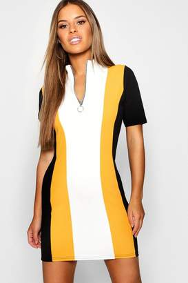 boohoo Petite Colour Block Zip Front Dress