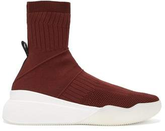 Stella McCartney Loop Stretch Knit Sock Trainers - Womens - Burgundy