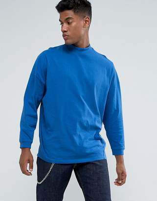 Asos Design Oversized T-Shirt With High Neck And Cropped Arm In Blue