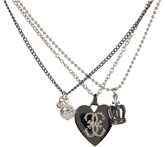 GUESS Heart Crown Pearl Chain Necklace (Silver Multi) - Jewelry