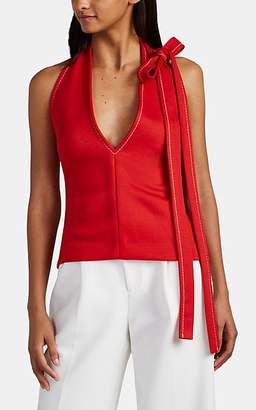Chloé WOMEN'S TIE-DETAILED JERSEY HALTER TOP - RED SIZE XS