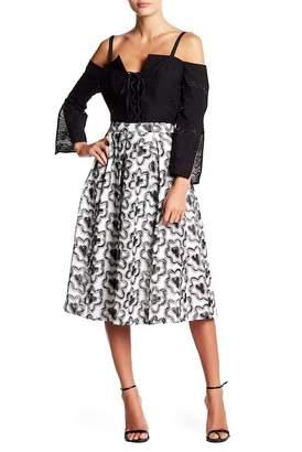 BCBGMAXAZRIA Embroidered A-Line Skirt