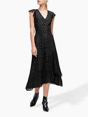 Lurex Spot Midi Dress, Black