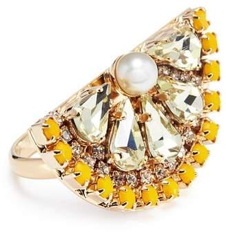 Anton Heunis Swarovski crystal pearl lemon slice ring
