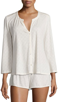 Eberjey Earl Diamond Knit Sleep Top, Off White $66 thestylecure.com