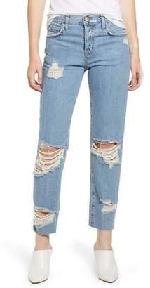 Current/Elliott Ripped Original Straight Leg Jeans