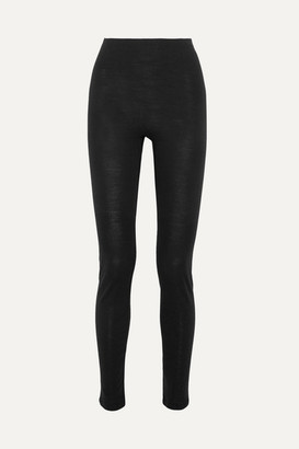 Hanro Merino Wool And Silk-blend Jersey Leggings - Black