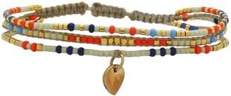 LeJu London - Multicolor Trio Bracelet With A Gold Pendant