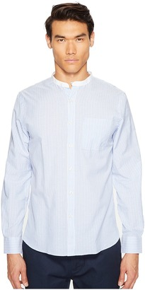 Todd Snyder - Bengal Stripe White Band Collar Shirt Men's Short Sleeve Button Up $158 thestylecure.com
