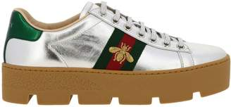 Gucci Sneakers New Ace Sneakers In Laminated Leather With Web Bee Band And Rubber Sole