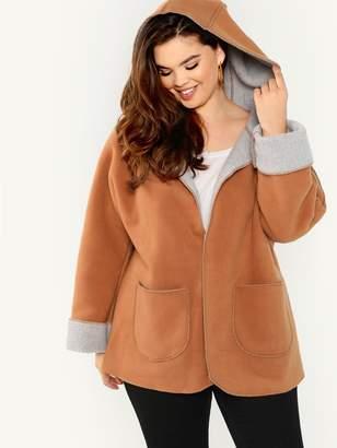 Shein Plus Fleece Lined Pocket Front Hooded Coat