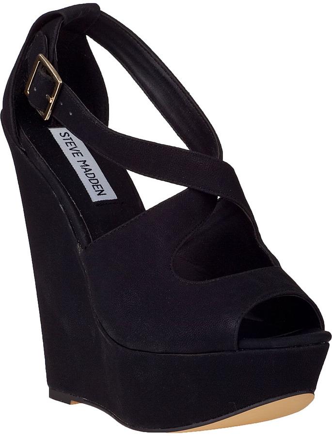 Steve Madden Xternal Wedge Sandal Black Fabric