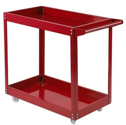 Willingboy 2 Tier Workshop Trolley Transport Tool Cart Storage Shelves Utility Cart Dolly