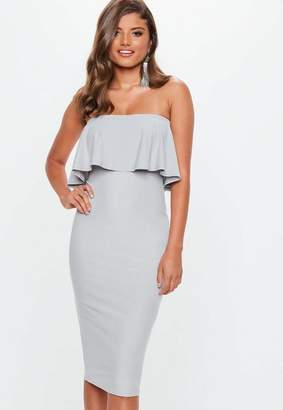 Missguided Gray Bandeau Frill Midi Dress