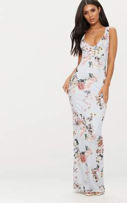 PrettyLittleThing Grey Floral Print Low Back Maxi Dress