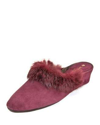 Jacques Levine Suede Wedge Mule Slippers w/ Fur Trim
