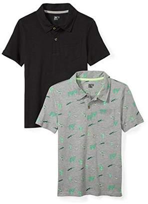 Spotted Zebra Boys' Big Kid 2-Pack Slub Jersey Short-Sleeve Polo Shirts