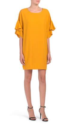 Kimika Made In Italy Dolman Ruffle Sleeve Dress