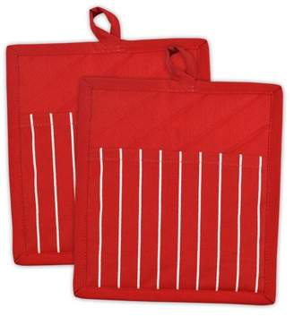 """Dii Design Imports Tango Red Stripe Chef Kitchen Potholders, Set of 2, 8""""x9"""", 100% Cotton, Red"""