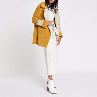 River Island Yellow fleece panelled coat