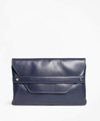 Brooks Brothers Leather Envelope-Flap Clutch Bag