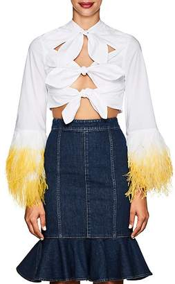 VIVETTA Women's Cotton Poplin Cutout Blouse