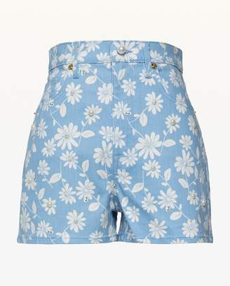 Juicy Couture Faux Pearl Embellished Sketched Daisies Denim Short