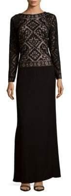 Tadashi Shoji Long-Sleeve Floor-Length Gown