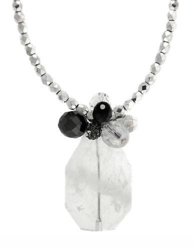 Lord & Taylor Sterling Silver & Onyx Pendant Necklace